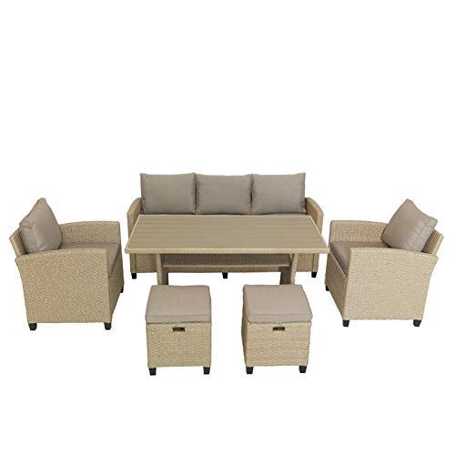A-myt cómodo y Hermoso Digno para el Patio Exterior/Sala de Estar de la Piscina, taburetes y mesas, Incluyendo sillas, 6 Piezas de Patio de Mimbre de ratán Exterior Sofá de Patio de jardín Simple y