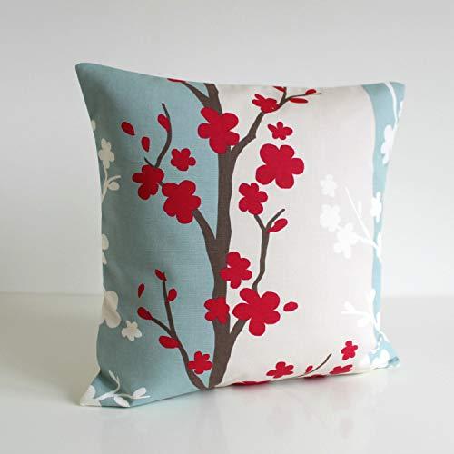 Promini Funda de cojín cuadrada decorativa de color rojo con diseño de flores nórdicas para interiores/exteriores con diseño de bricolaje, 50 x 50 cm
