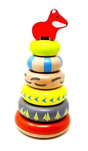 Orcamor Wooden Stacking Toy with Fox Topper - Montessori Wooden Stacking Toys - Woodland Nursery Decor for Toddler 1 Year Old and Up - 8 Inches Tall