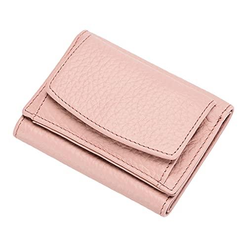 Sharplace Cartera pequeña y compacta para mujer, cuero de PU, bloqueo RFID, pequeña plegable con organizador de monedas, tarjetero, 10x7x3cm - Rosa