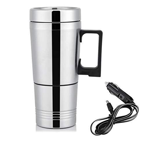 Taza de la calefacción del Coche, 12V / 24V 300ml Tazas de Agua del té del café eléctrico del Coche Tazas de la Botella del Termo del Viaje del Acero Inoxidable del Calentador(12V)