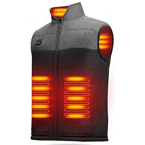 LECDDL 加熱ベスト ヒートジャケット 加熱服 USB充電式電熱ベスト ダブルスイッチ 前後独立温度設定可能 3段階温度調整 保温 防寒 超軽量 臭くない 水洗い可能 6つのサイズから選べます(M、L、XL、XXL、XXXL) アウトドア防寒対策 (XL)