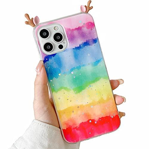 Nadoli per Xiaomi Redmi 9A Custodia,Arcobaleno Colore Disegno Carino Kawaii Cervo Orecchio 3D Cartone Brillanti Glitter Bling Sottile Morbida TPU Silicone Protettiva Cover