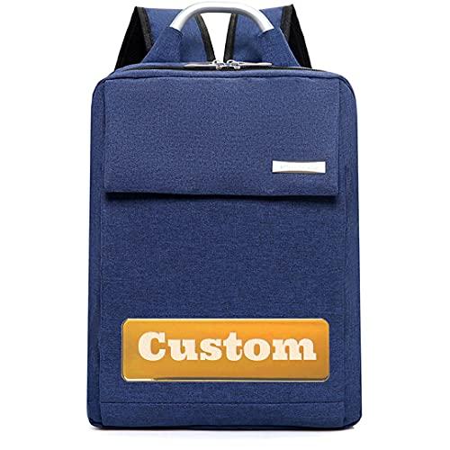 Bolso de los Hombres del Nombre Personalizado para el Trabajo Slim Laptop Mochila Impermeable 13 Bolsa de Viaje (Color : Blue, Size : One Size)