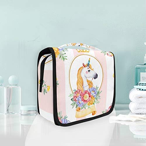 Trousse de maquillage trousse de toilette florale Prince de licorne florale Prince à rayures