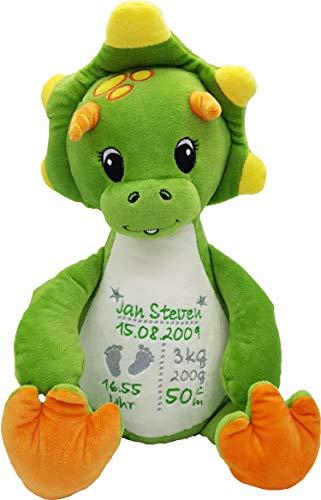 Cubbies Stofftier Teddy Bär, Einhorn, Rentier, Hase, Giraffe, Tiger, Elefant Geschenk mit Namen und Geburtsdatum personalisiert Bestickt 40cm (Dino)