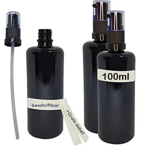 Naturellia - Juego de 3 botellas vacías de cristal violeta de 100 ml, para conservar orgánicos y 6 pegatinas para escribir