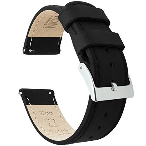 20mm Black/Black BARTON Quick Release Top Grain Leather Watch Band Strap
