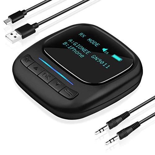 AsperX Bluetooth Adapter Audio 5.0 Bluetooth Transmitter Empfänger 2 in 1 Receiver Low Latency Mit 3.5 mm Audio Jack, Geeignet für TV Laptop Stereoanlage Kopfhörer Lautsprecher