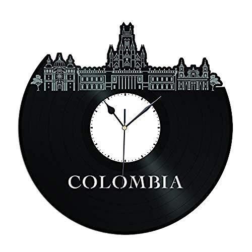 AIYOUBU - Reloj de Pared de Vinilo de Colombia Skyline Casa y Oficina |Decoración de la habitación