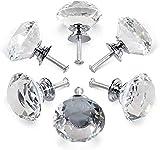 pompelli manopole cristallo,6 pezzi pomelli cristallo per mobili,pomelli di cristallo trasparente manopole a forma diamante,per porte armadietti cassetti e guardaroba accessori mobili,con vite(30mm)