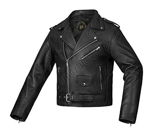 MAGS World24 Lederjacke Motorradjacke Bikerjacke Rockerjacke 80`s Old School Rockabilly Jack Cow Hide in schwarz aus 100% reinem weichem Leder