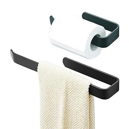 2 Stück Bad Handtuchhalter, Handtuchhalter Schwarz, 19CM/32.5CM Dusche Handtuchhalter Waschtisch Unterschrank Bad Korpusmontage Montage[Nein Bohren]