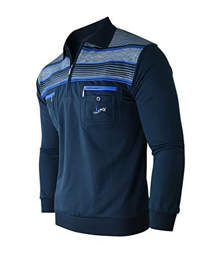 Humy Herren Langarm Sweatshirt, Pullover, Poloshirts Gestreifte Blousonshirts Baumwoll-Mix (M, Navy)