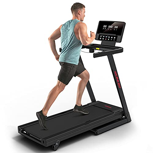 RUNOW Folding Treadmill with Incline for Home/Apartment, Electric Running Machine, Treadmill with LCD Monitor Running Walking Jogging Exercise Fitness Machine