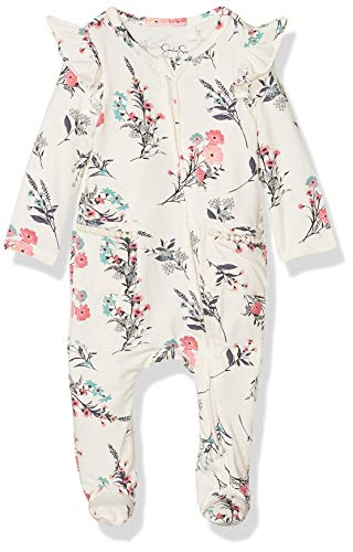 Jessica Simpson Girls Baby Footie, Two Pockets Winter Blossom, 3-6 Months