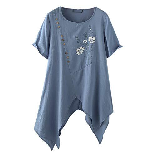 Damen Casual Übergröße Unregelmäßige Mode Lose Leinen Langarmshirt Vintage Bluse...