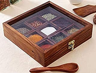 Delux Wood Carver Spice Box with Spoon in Shesham Wood for Kitchen Indian 9 Container with Lid Decorative Masala Dabba Org...