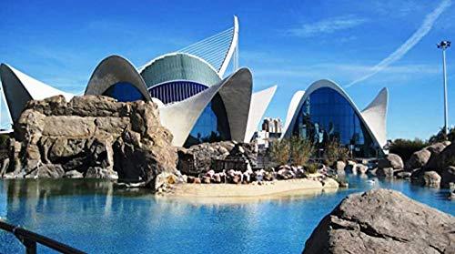 Yangfeng 1000 Puzzleteile / DIY-Puzzles / Valencia Aquarium / 3D-Architekturpuzzles / Familienspaß / Puzzlespielspielzeug / Geburtstag Wanddekoration
