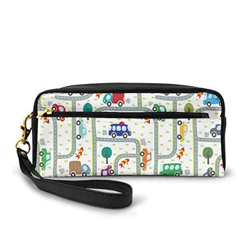 Pencil Case Pen Bag Pouch Stationary,Vibrant Cute Children Drawing Cars Driving on The Roads Traffic Urban Themed Design,Small Makeup Bag Coin Purse