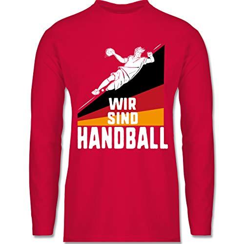 Shirtracer Handball WM 2021 - Wir sind Handball! Deutschland - XL - Rot - Rundhals - BCTU005 - Herren Langarmshirt