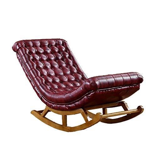 LLDKA schommelstoel leder-eenvoudige, massief houten sofa luifel ligstoel voor terras vrije tijd