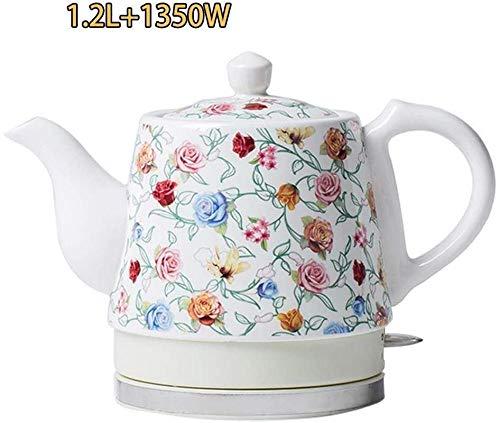 LILAODA Wasserkocher Elektrokeramik Schnurloser Wasserkocher Teekanne-Retro Rot 1,2 L Krug 1350W Wasser schnell Perfect