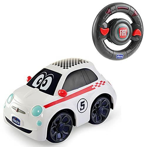 Chicco Fiat 500 RC Voiture de Sport Télécommandée Chicco, Radiocommandée avec Volant Intuitif, Véhicule à moteur RC avec Sons et Klaxon - Jouets pour Enfants de 2 à 6 Ans - Blanche