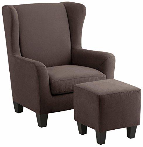 Loft24 A/S Sessel mit Hocker Ohrensessel Polstersessel Armsessel Fernsehsessel Lesesessel Vintage gepolstert Federkern (braun, Mikrofaser)