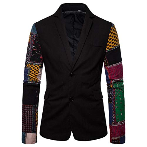 Zilosconcy Mens Dinner Jacket Cotton+Polyester Blazer Mens Vintage Ethnic Personalised Printed Coats Floral Suit Slim Fit Blazer Single Breasted Jacket Formal Casual Business Office Work Home