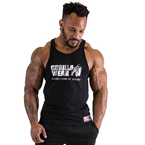 Gorilla Wear Men's Gym Shirt Classic Stringer Tank Top S to 3XL Bodybuilding Fitness Muscle Shirt Black Silver XL