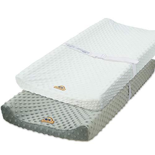 BlueSnail Ultra Soft Minky Dot Chaning Pad Cover 2 Pack (Gray+White, 2 Pack)