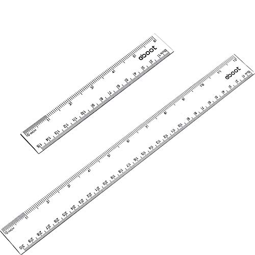2 Pieces Plastic Clear Ruler Straight Ruler Math Rulers (Clear, 6 Inches and 12 Inches)