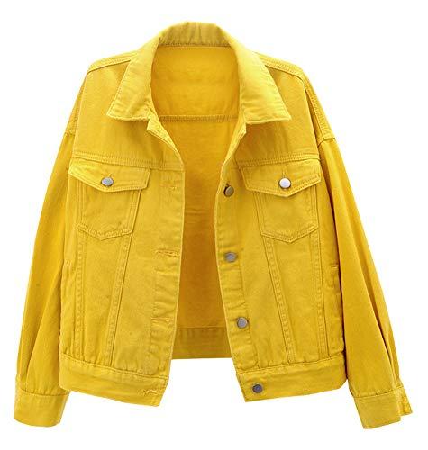 CYSTYLE Damen Jeansjacke Übergangsjacke Kurz Jacke Denim Casual in klassischer Form (Gelb, L)