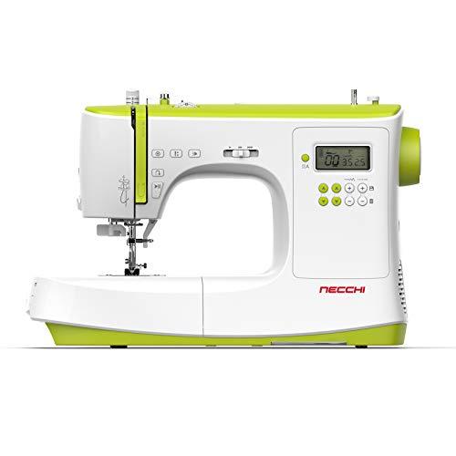 Necchi NC-102D - Máquina de coser, interior de aluminio fundido a presión, carcasa de ABS, luz verde, normal