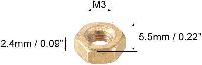 Sourcing Map metrico esagonale in ottone dado esagonale tono oro