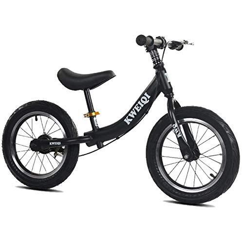 Bilancia Bilancia, Ruote da 14 pollici, Bicicletta da allenamento per bambini con sedile e freno regolabile, senza pedale Bilancia da passeggio per bambini per ragazzi di 3-7 anni ragazze, nero WTZ012