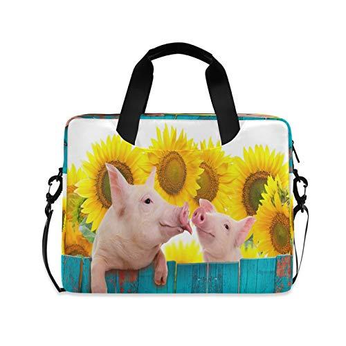 Yulife Funny Pig Sunflower Laptop Bag Sleeve Case for Women Men Wooden Briefcase Tablet Messenger Shoulder Bag with Strap Notebook Computer Case 14 15.6 16 Inch for Kids Girls Business