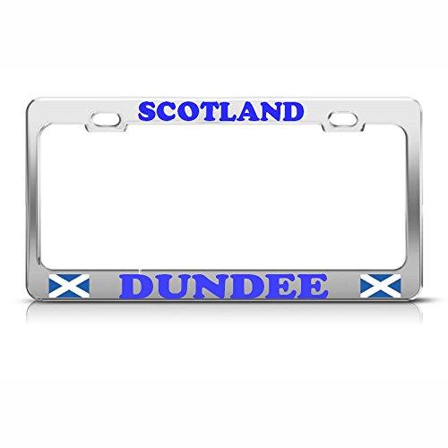 Dundee Scottish Scotland Flag Heavy Duty Chrome Metal License Plate Frame Tag Perfect for Men Women Car garadge Decor