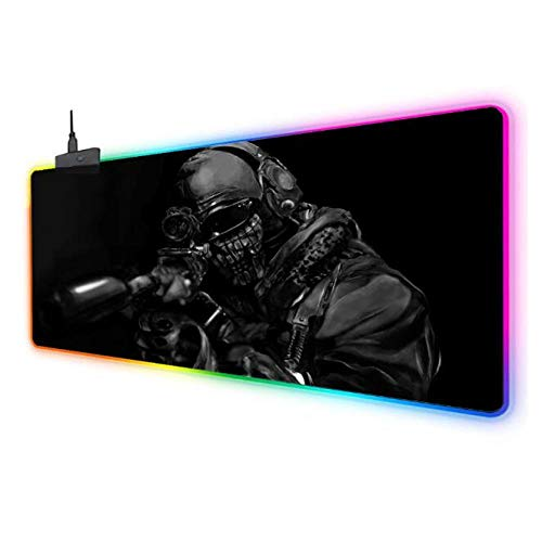 Mouse Pads Call of Duty Cod Gaming RGB Mouse Pad Large Led Fashion Glow Big Mice Mat for Mac Pc Laptop Rubber Base Mouse Mat 5001000Mm