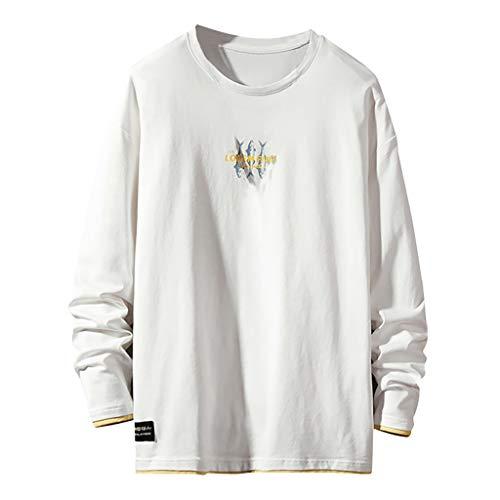 Da Uomo a Maniche Lunghe Jersey Top Logoro Cotton T Shirt Punta Casual Leggera