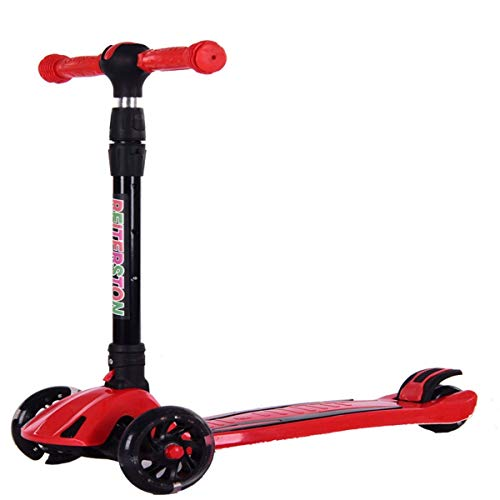 SZNWJ Ygqtbc La Vespa Rocket Original, Niños Kick Scooter, con luz Ruedas, Manillar de dirección Robusto, Tabla Estable, Altura Ajustable y Plegable Diseño (Color : Red)