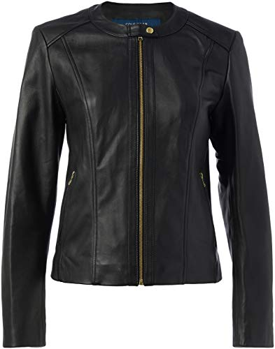 Cole Haan Women's Leather Collarless Jacket, Black, Large