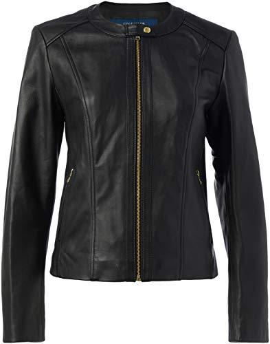 Cole Haan Damen Collarless Jacket Lederjacke, schwarz, Mittel