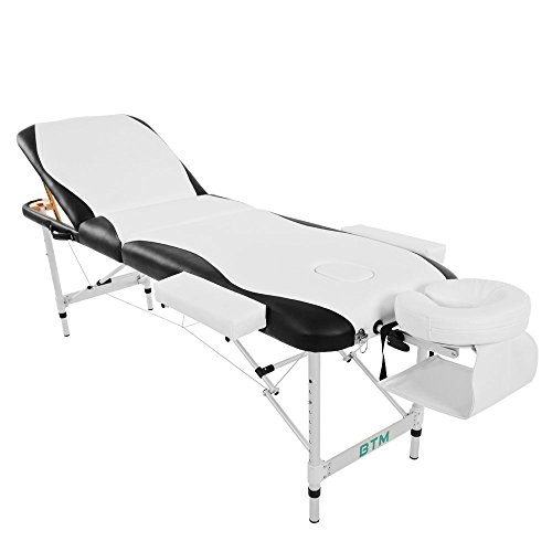 Pro Portable Massage Table,3 Sections Lightweight Aluminium Massage Table Tattoo SPA Reiki Portable Folded Premium PU Leather, Density Multi-Layer Foam Headrest Arm Support,with Carrying Bag (White)