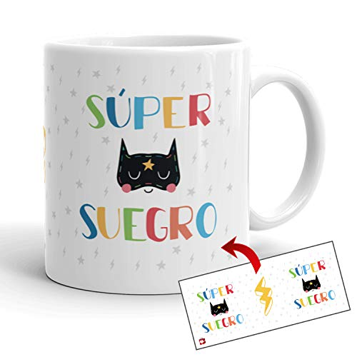 Kembilove Tazas de Familia – Originales Tazas de Desayuno para Toda la Familia – con Mensaje Eres un Súper Suegro – Tazas de Café para Hombres y Mujeres – Regalos Originales para Familiares