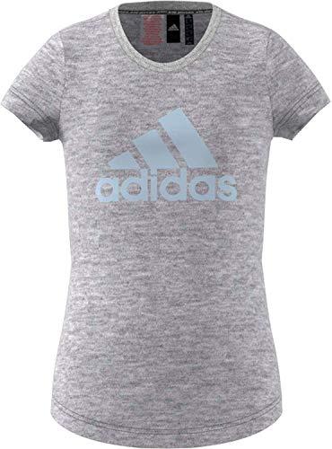 adidas Mädchen T-Shirt YG MH BOS Tee, medium Grey Heather/Sky Tint, 910Y, FL1806