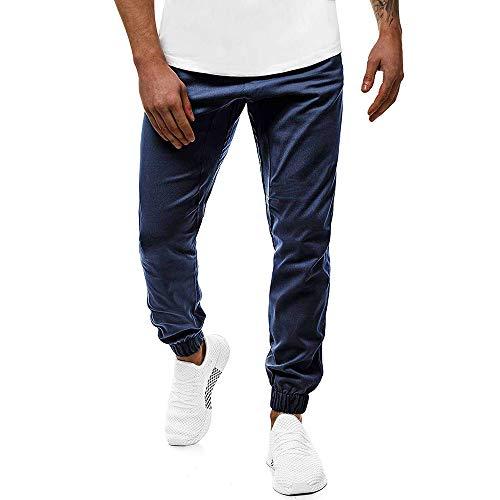 Chickwin Casual Skinny Pantalones Largos Deportivos De Jogging Running para Hombre, Slim Elásticos Talla Grande Fit Pantalón De Chándal con Bolsillos Cordón de Ajuste Trousers (Armada,L)