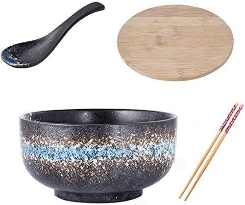 QXX Piatto di Ceramica in Stile Giapponese con Le Bacchette Coperchio Nero Ramen Set Cucchiaio zuppa zuppiera retrò Piatti Studenti Creativo istantaneo Noodle Bowl