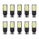 Bombilla LED, 10pcs T10 W5W 6SMD Luz de placa de señal lateral sin errores del coche(blanco)